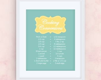Cooking Conversions // Teal & Yellow // Printable Wall Art // 8x10 // JPEG File // INSTANT DOWNLOAD