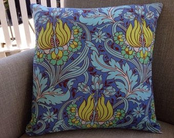 "Amy Butler Soul Blossoms ""Temple Tulips"" in blue with a french linen backing fabric"