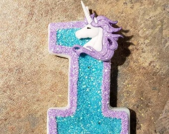 Unicorn Glitter Painted Candle-birthday candle painted candle birthday party cake candle cake topper party unicorn party horse magic glitter
