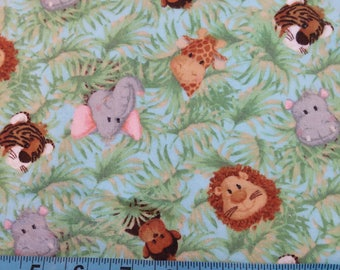 Flannel Fabric - Jungle Babies on Blue