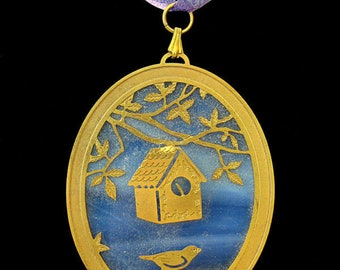 Vintage Stained Glass Christmas Ornament Brass Birdhouse Scene