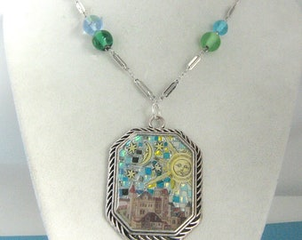 Sun, Moon and Stars over Medieval Town Mosaic Pendant Necklace