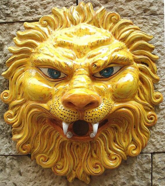 Ceramic Lion Mask / pottery mask / ceramic lion wall art