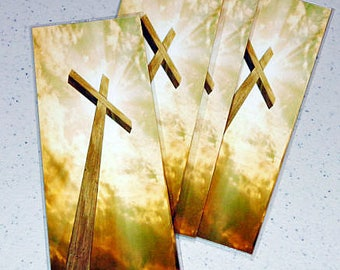 Cross image, of the wooden cross|,bookmark|printed,laminated + eyelet optional ribbon or tassel-1 per pc
