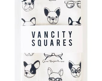 Mens pocket square with black and white french bulldog print, with custom thread.