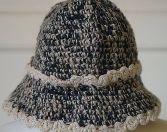 Hand knitted Woodland/Cottage Chic wool Bucket hat/Cloche hat/ Fisherman hat/bonnet cap Flapper Style
