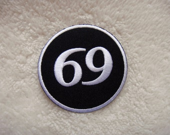 Number 69 Embroidered Applique Iron on Patch