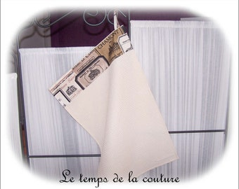 Wipe hands - Tea towel - shades of ecru, taupe and black - handmade.