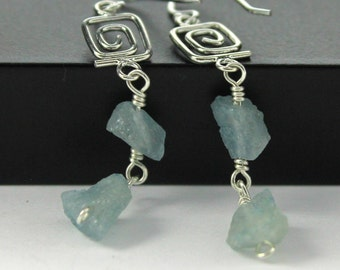 Rough Aquamarine Earrings Sterling Silver - Irregular Shape Earrings - Raw Aquamarine Stones - March Birthstone