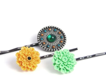 Hair Pins, Yellow Green Gunmetal Boho Style, Flower Head Piece Accessories Gifts for Safari Girl Her- LAST SET