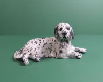 1:12 Scale Furred English Setter DOG Dollhouse Miniature OOAK