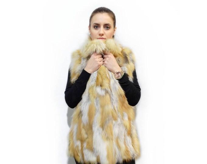Real red fur fox vest, Long fur vest F413