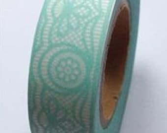 Washi Tape, Printed Paper Tape, Lace Washi Tape, Blue Lace Tape, Embellishment, Craft Tape, Gift Wrap, Journal, Decorative Tape