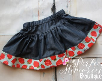 Girls Strawberry Skirt | Girls Skirt | Baby Girl Skirt | Strawberries | Summer Skirt | Girls Clothing | Baby Girls Clothing