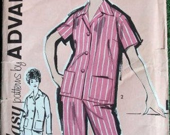 1960s Advance 2735 Misses Pajamas or Nightshirt Pattern  Womens Vintage Sewing Pattern Size 12 Bust 32 UNCUT