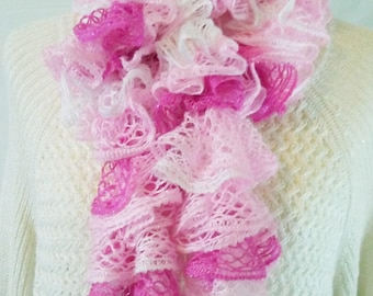 Pretty in Pink Ruffle Scarf, Sashay Ruffle Scarf, Ladies Scarf, Statement Accessory, Crochet Ruffle Scarf, Handmade Scarf, Gift for Her