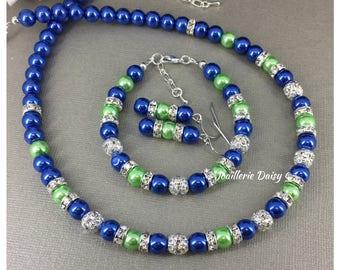 Royal Blue and Lime Necklace Royal Blue Jewelry Lime Necklace Bridesmaid Jewelry Bridesmaid Gift for Her Cobalt Blue Royal Blue Green