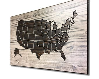 Wooden US Map, Wood wall art, Home Wall Decor, United States Map with States, location markers, Wooden, Vintage, Rustic, Anniversary Gift