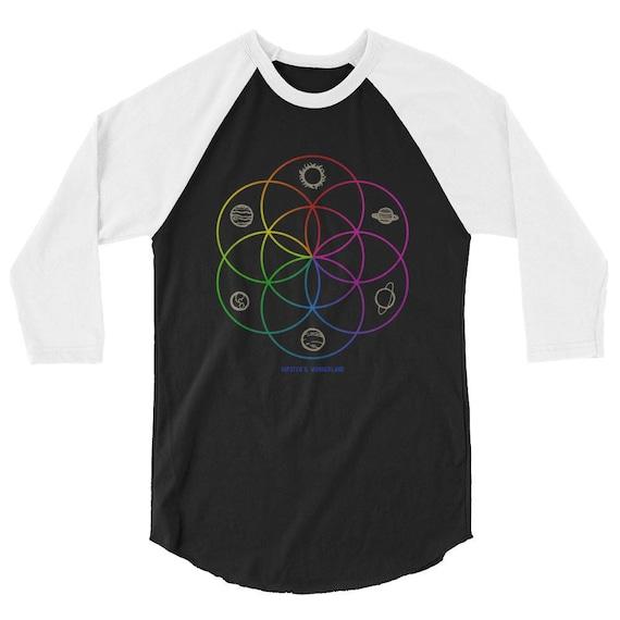 Seed of Life Unisex Raglan Tumblr Hipster Grunge Aesthetic Rad Psychedelic Rad Universe Planets Flower of Life Sacred Geometry Baseball Tee oHfe4Kah