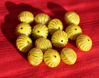 Donut 12x6mm yellow / shiny / capri (2pcs)