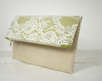 Fold over lace clutch in Color of Your Choice