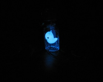 Tiny glow in the dark ghost bottle necklace/ Tiny ghost in a bottle necklace