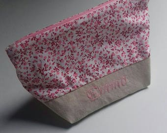 To order: toiletry bag / pouch linen personalized gift idea