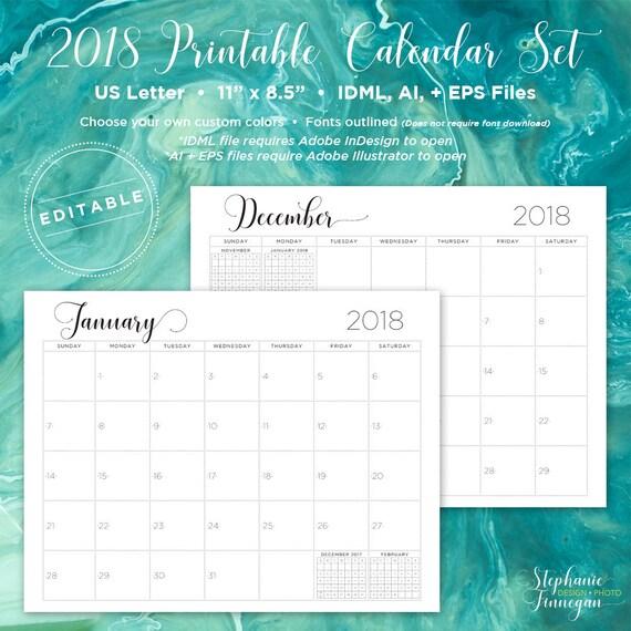Indesign Calendar Template 2018 Leoncapers