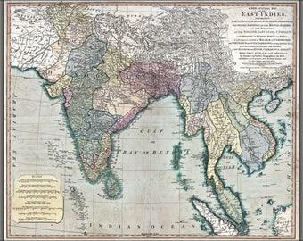 Plakat, viele Größen erhältlich; Karte von Südost-Asien 1794 Indien Vietnam Thailand