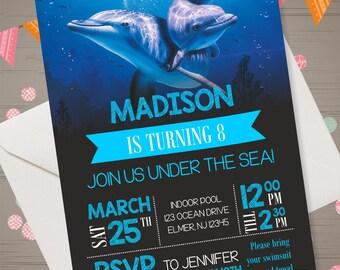 Dolphin Invitation Dolphin Birthday Party Dolphin Invite Dolphin Party Supplies Dolphin Printables Dolphin Birthday Invitation Under the Sea