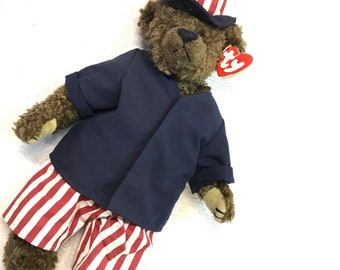 Classic Uncle Sam Judy 4th TY  Samuel I Want You 14 inch Teddy Bear