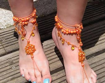 Barefoot orange sandals summer ankle jewellery