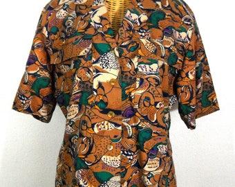 Vintage Duck Print Shirt // Women's Size L