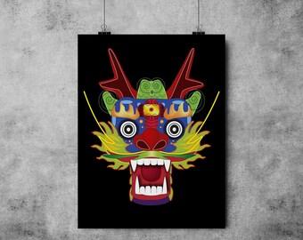 INSTANT DOWNLOAD, Asian Dragon, Chinese New Year, Original Fine Art Print, 4 Dollars, Printable, DIY, Dragon
