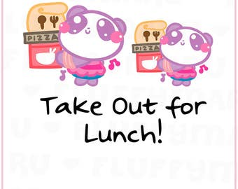 Food Take Out Panda Mimi    Planner Stickers, Cute Stickers for Erin Condren (ECLP), Filofax, Kikki K, Etc.    MTP30