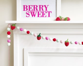 Strawberry Themed Felt Ball Garland, Bunting, Banner - White, Pink, Red, Mint, and Turquoise - READY TO SHIP!