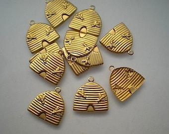 12 brass beehive charms