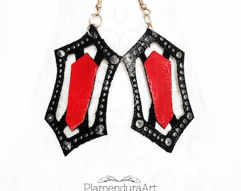 MELISANDRE GOTHIC EARRINGS Handmade Hand-Painted Medieval Game of Thrones Cosplay Inspiration