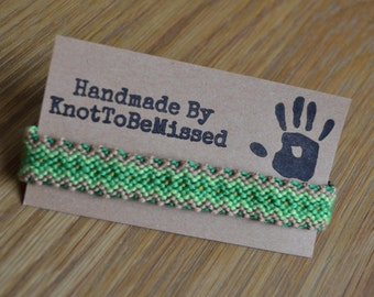 Handmade Macrame Woven Diamond Friendship Bracelet Green Tan