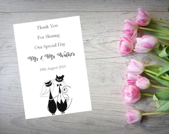 Personalised Wedding Thank You Cards with Matching Envelopes Pack Of 10 TY117