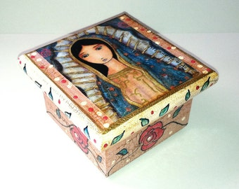 Virgen de Guadalupe - Pre-Order -  Original Mixed Media Handmade Jewelry Box Folk Art by FLOR LARIOS