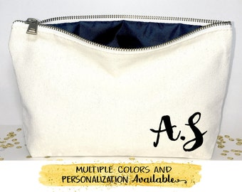 Initial makeup bag- Personalized gift , Canvas cosmetic bag, bridesmaid gift, Christmas gift, Bridal gift ,  Zipper pouches - Weddings