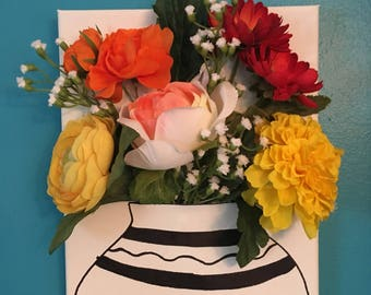 """Handmade Flower and Vase Wall Hanging Decoration 8x10"""""""