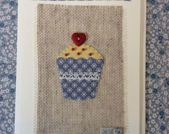 Blue star cupcake card