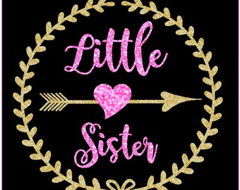 Little Sister Glitter Iron On, Big sister glitter
