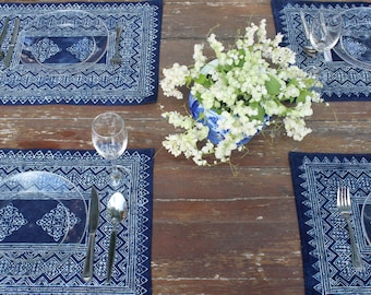 Placemat In Hmong Indigo Batik Cotton- 4 Different Patterns, Blue Naturally Dyed, Sold Individually- Free Shipping