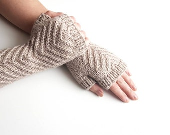 Knit beige fingerless mitts, knitted gloves, handknit armwarmers, handmade handwarmers, womens mitts, winter gloves