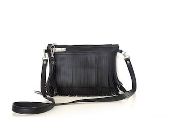 Black crossbody bag, leather crossbody bag, black vegan leather bag, crossbody leather bag, everyday purse, fringe cross body bag 3 in 1