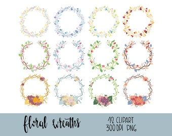 Floral wreaths clipart, floral frames overlays, wedding hand drawn floral wreath, digital scrapbook frames, instant download, commercial use