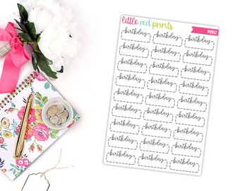 Happy Birthday Planner Stickers for the Erin Condren Life Planner, Birthday Sticker, Birthday Planner Sticker - [P0132]